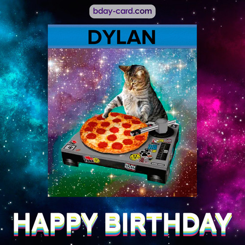 Meme with a cat for Dylan - Happy Birthday