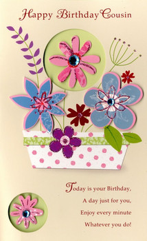 Happy Birday Cousin Embellished Greeting Card Cards Love ...