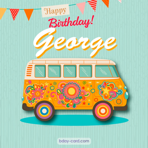 Happiest birthday pictures for George with hippie bus