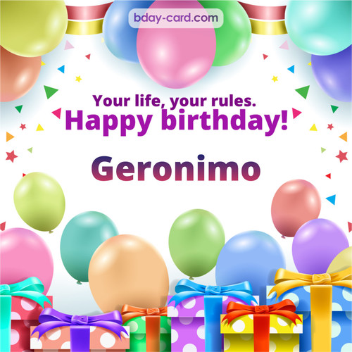 Greetings pics for Geronimo with Balloons