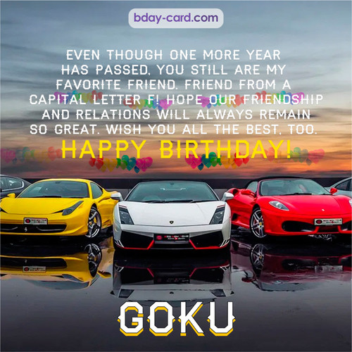 Birthday pics for Goku with Sports cars