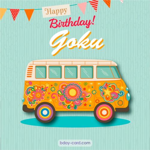 Happiest birthday pictures for Goku with hippie bus