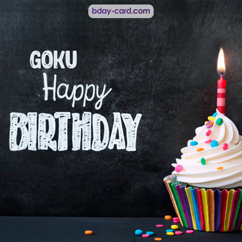 Happy Birthday images for Goku with Cupcake