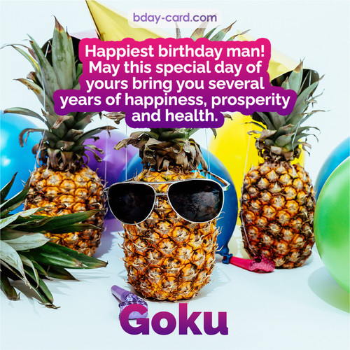 Happiest birthday pictures for Goku with Pineapples