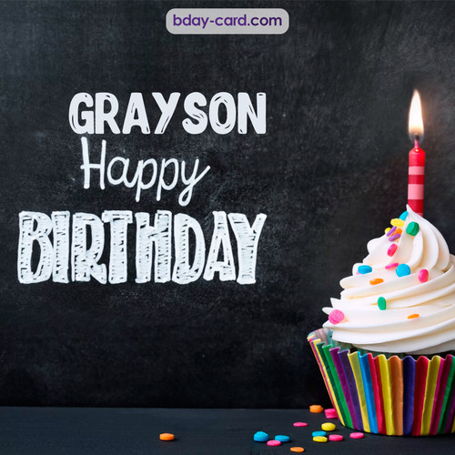Happy Birthday images for Grayson with Cupcake