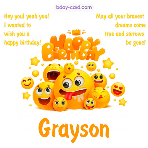 Happy Birthday images for Grayson with Emoticons