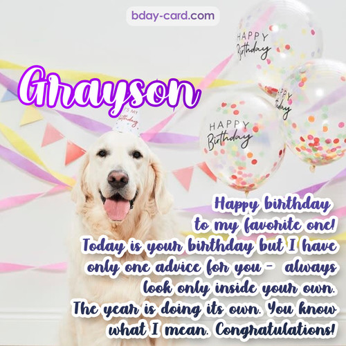 Happy Birthday pics for Grayson with Dog