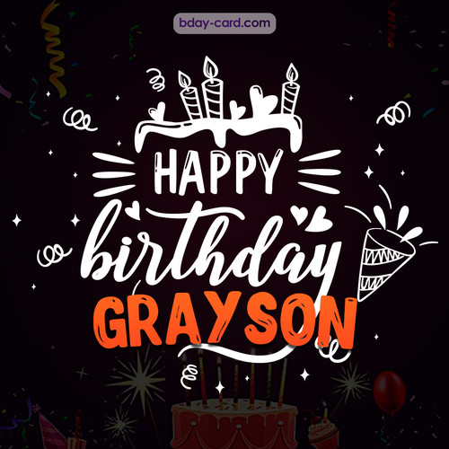 Black Happy Birthday cards for Grayson