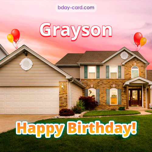 Birthday pictures for Grayson with house