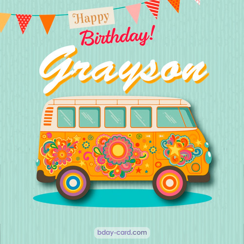 Happiest birthday pictures for Grayson with hippie bus