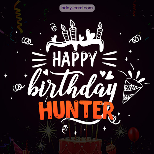 Black Happy Birthday cards for Hunter