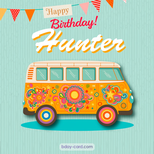 Happiest birthday pictures for Hunter with hippie bus