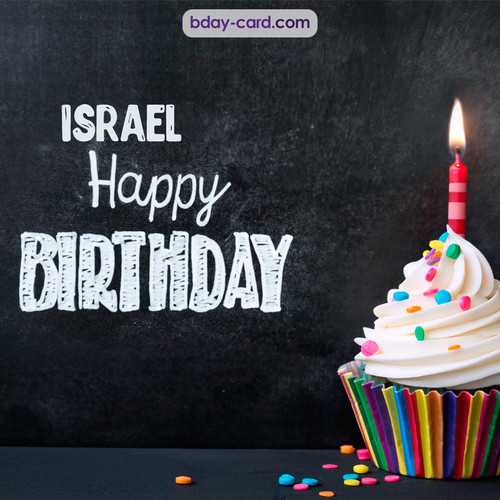 Happy Birthday images for Israel with Cupcake