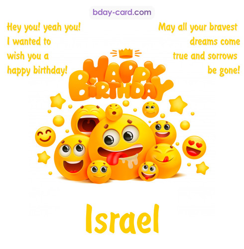 Happy Birthday images for Israel with Emoticons