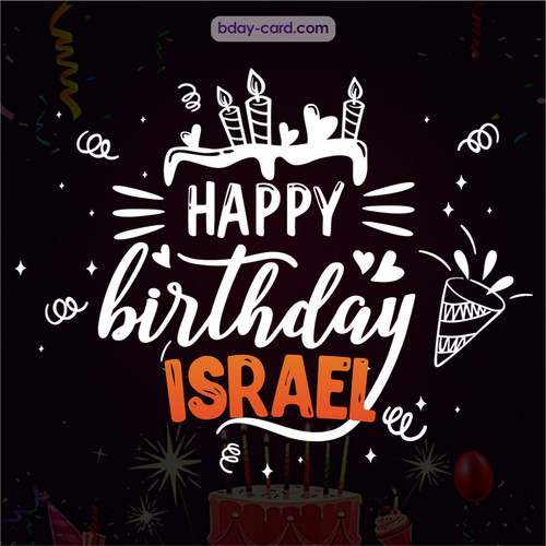 Black Happy Birthday cards for Israel