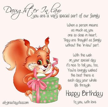 Birday Card Free Cards For Daughter In Law Daughte