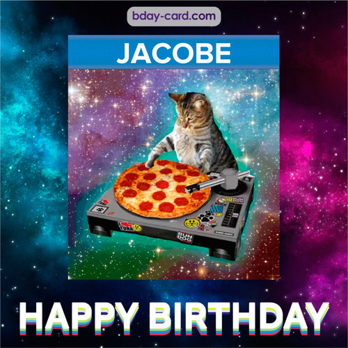 Meme with a cat for Jacobe - Happy Birthday