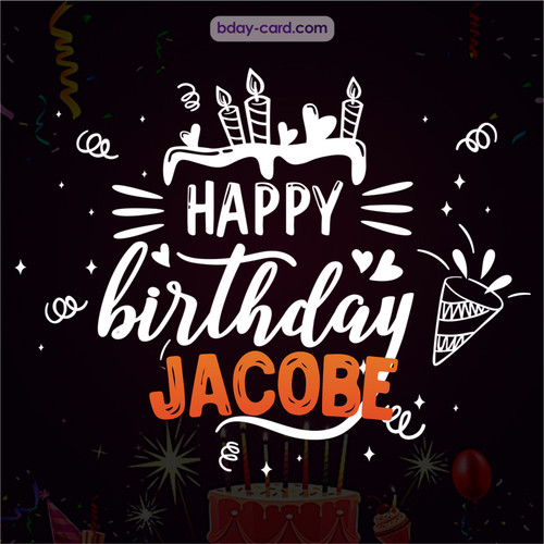 Black Happy Birthday cards for Jacobe