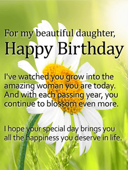 For my Beautiful Daughter Daisy Happy Birday Wish Card