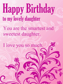 To My Lovely Daughter Purple Flower Happy Birday Wishes C...