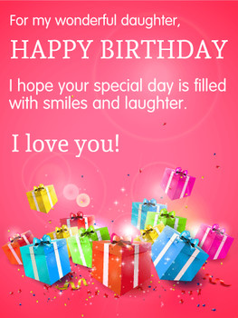 For My Wonderful Daughter Happy Birday Wishes Card Birday