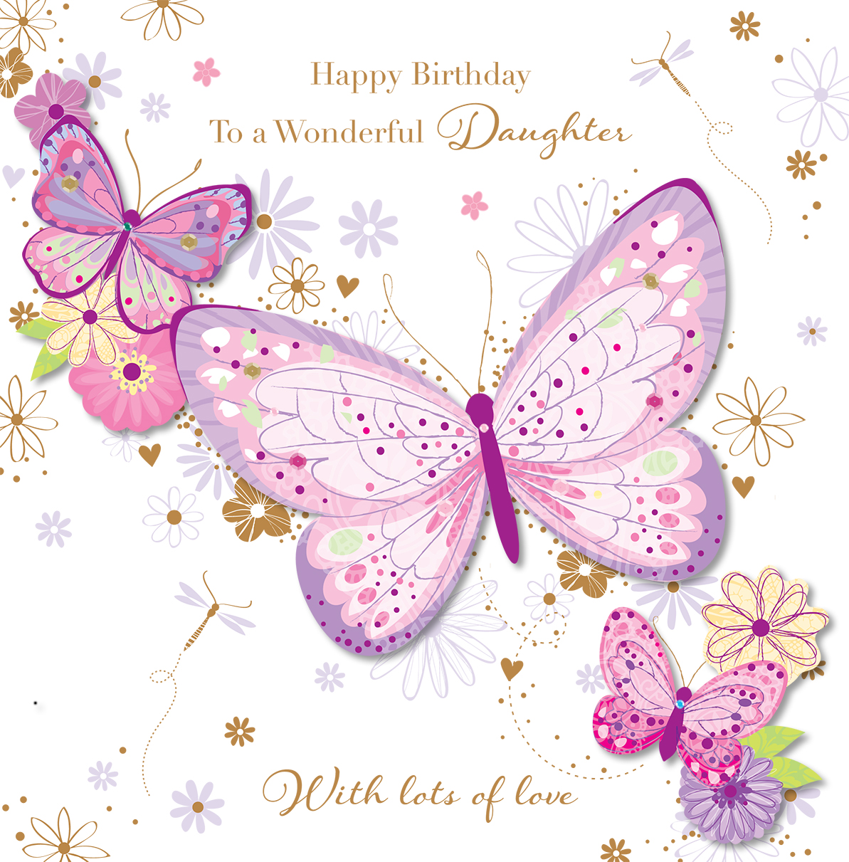 Wonderful Daughter Happy Birday Greeting Card Cards Love Happy