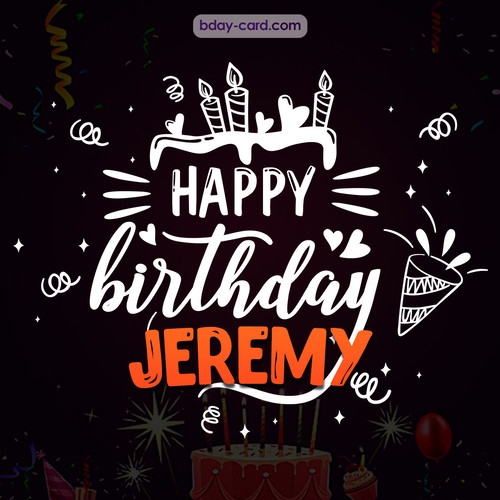 Black Happy Birthday cards for Jeremy