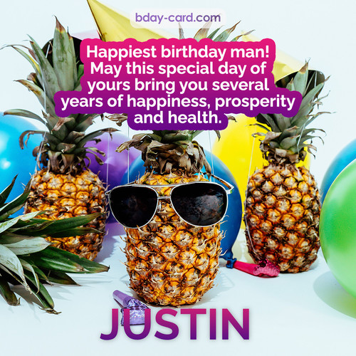 Happiest birthday pictures for Justin with Pineapples