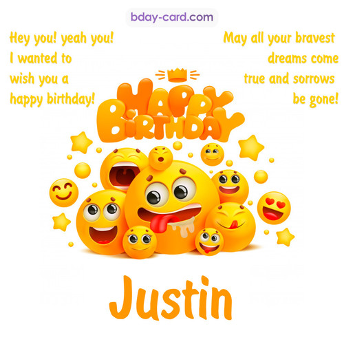 Happy Birthday images for Justin with Emoticons