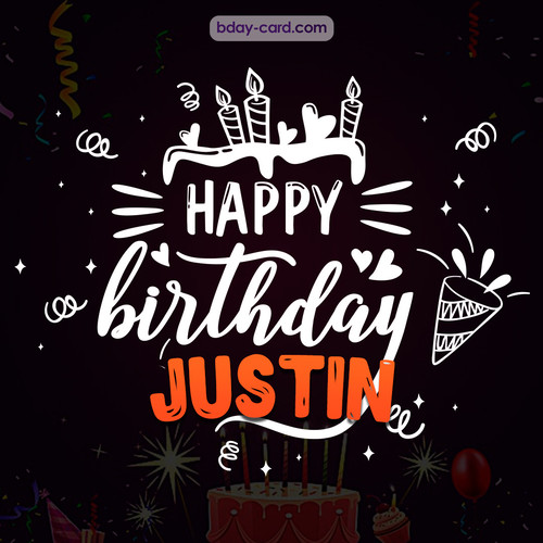 Black Happy Birthday cards for Justin