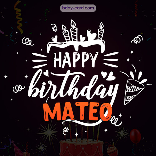 Black Happy Birthday cards for Mateo