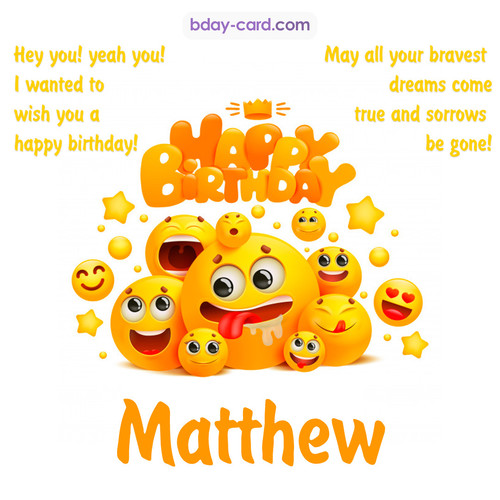 Happy Birthday images for Matthew with Emoticons