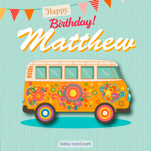 Happiest birthday pictures for Matthew with hippie bus