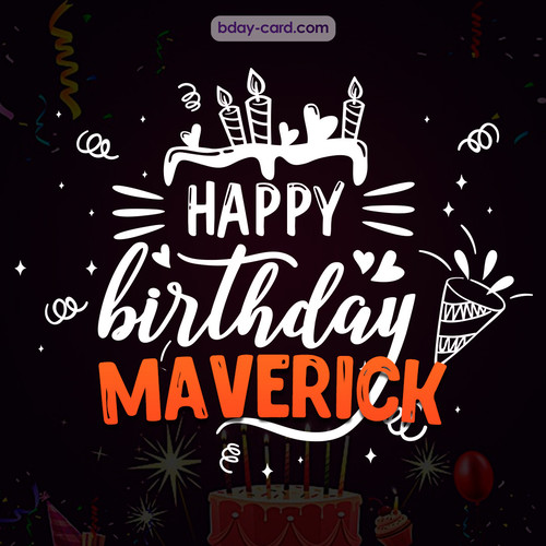 Black Happy Birthday cards for Maverick