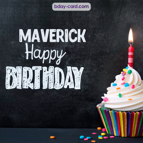 Happy Birthday images for Maverick with Cupcake