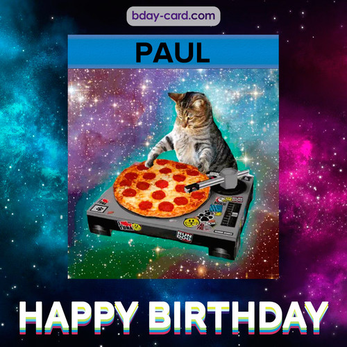 Meme with a cat for Paul - Happy Birthday
