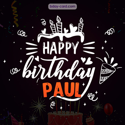 Black Happy Birthday cards for Paul