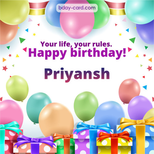 Greetings pics for Priyansh with Balloons