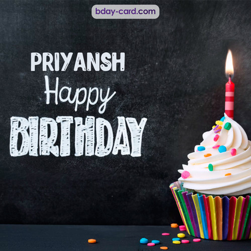 Happy Birthday images for Priyansh with Cupcake