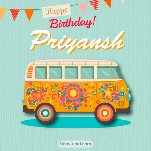 Happiest birthday pictures for Priyansh with hippie bus