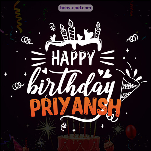 Black Happy Birthday cards for Priyansh
