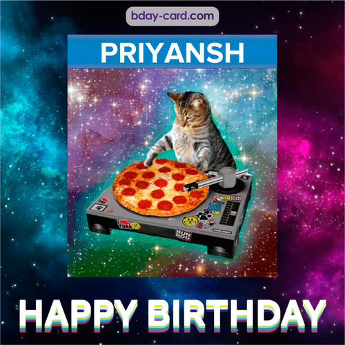 Meme with a cat for Priyansh - Happy Birthday