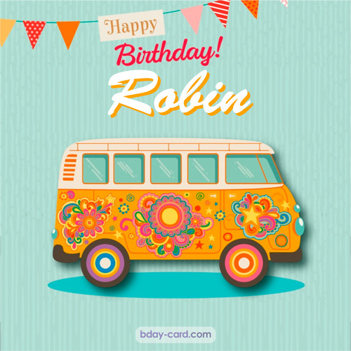 Happiest birthday pictures for Robin with hippie bus